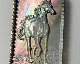 Mother of Pearl Horse Carved Cameo Shell with Rainbows Cabochon
