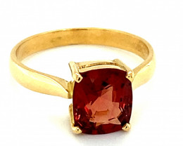 Red Mogok Spinel 2.40ct Solid 18K Yellow Gold Solitaire Ring Size 7.5