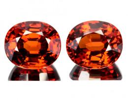 12.86 Cts Natural Spessartite Garnet 2 Pcs Oval Orangish Red Namibia