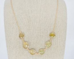 YELLOW NECKLACE NATURAL GEM 925 STERLING SILVER JN151