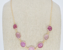 PINK SAPPHIRE NECKLACE NATURAL GEM 925 STERLING SILVER JN160