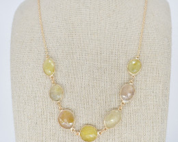 YELLOW SAPPHIRE NECKLACE NATURAL GEM 925 STERLING SILVER JN159