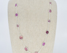 PINK SAPPHIRE NECKLACE NATURAL GEM 925 STERLING SILVER JN156