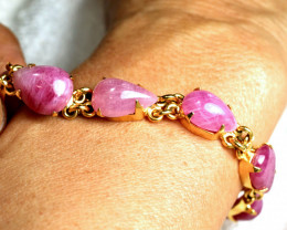 90.5 Tcw. Gold Plated Sterling Silver Ruby Bracelet - Gorgeous