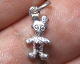 3.80cts Sterling Silver Finished Bear Pendant/Charm with Ruby