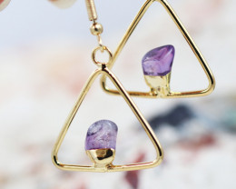 Earth Design Polished Amethyst Gemstone G/P Earrings BR 2686