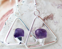 Earth Design Polished Amethyst Gemstone Earrings BR 2690