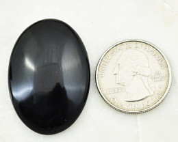 Genuine  45.00 Cts  Black Obsidian Oval Shape Cabochon