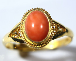 Cts.   9.0  Silver In gold Plated Red Coral Ring          RF10