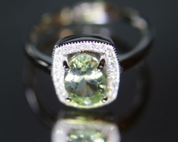 Mint Tourmaline 1.30ct White Gold Finish Solid 925 Sterling Silver Halo Rin