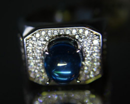 Blue Topaz 4.82ct Platinum Finish Solid 925 Sterling Silver Mens Ring Size