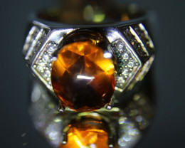 Citrine 5.42ct Platinum Finish Solid 925 Sterling Silver Men and Boys Ring