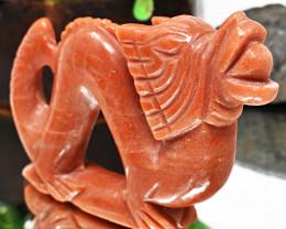 Genuine 1290.00 Cts Orange Aventurine Dragon