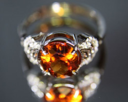 Spessartine 2.45ct White Gold Finish Solid 925 Sterling Silver Ring Size 7