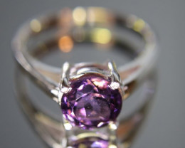 Amethyst 1.08ct Platinum Finish Solid 925 Sterling Silver Solitaire Ring Si