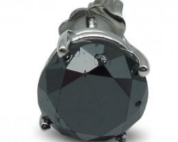 3.45 cts. Black Diamond Single/Men's Stud Earring in 14kt White Gold