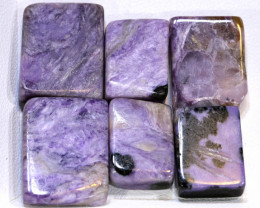 79.10 CTS PURPLE CHAROITE 6 RECTANGLE STONES  ADG-203