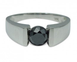Fine Quality 1.72 cts. Black Diamond Unisex Solitaire Ring in 14kt White Go