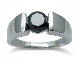 Fine Quality 1.80ct. Black Diamond Unisex Solitaire Ring 14kt White Gold Ri
