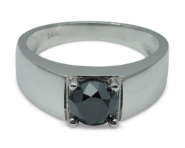 Fine Quality 1.68 ct. Black Diamond Unisex Solitaire Ring in 14kt White Gol