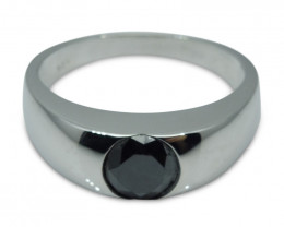 Fine Quality 1.38 ct. Black Diamond Unisex Solitaire Ring in 14kt White Gol