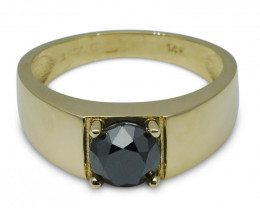 Fine Quality 1.70 ct. Black Diamond Unisex Solitaire Ring in 14kt Yellow Go