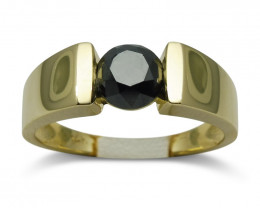 Fine Quality 1.77ct. Black Diamond Unisex Solitaire Ring in 14kt Yellow Gol