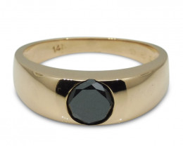 Fine Quality 1.36 cts. Black Diamond Unisex Solitaire Ring in 14kt Rose/Pin