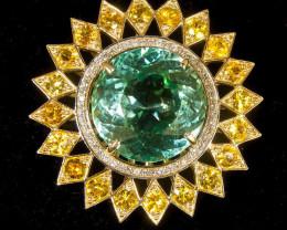 MSU certif Hiddenite 18,60 ct exclusive golden ring of 14 ct (585)