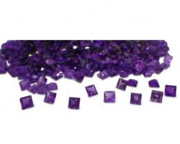 30 Stones - 9.90 ct Amethyst 4mm Square- $1 No Reserve Auction