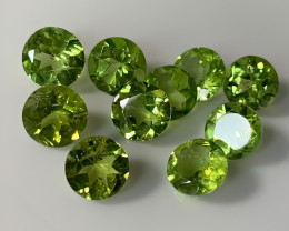 10 FABULOUS 7MM PERIDOT GEMS RICH COLOR C7.50P