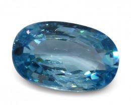 4.35 ct Oval Blue Zircon-$1 No Reserve Auction