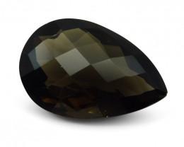 28.23 ct Pear Checkerboard Smoky Quartz- $1 No Reserve Auction