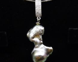 Baroque Pearl Pendant w/ .925 Silver Chain - $1 NR Auction