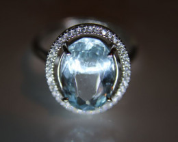 Aquamarine 3.71ct White Gold Finish Solid 925 Sterling Silver Ring