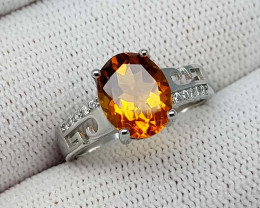16CT MADEIRA CITRINE 925 SILVER RING