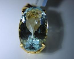Aquamarine 14.12ct Solid 18K Yellow Gold Pendant