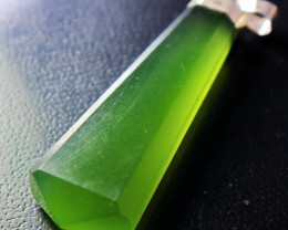 74.90 CT Natural - Unheated Green Serpentine with Silver Cap Pendant