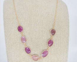 PINK SAPPHIRE NECKLACE NATURAL GEM 925 STERLING SILVER JN155