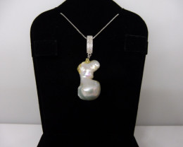 Baroque Pearl Pendant With .925 Silver Chain-$1 No Reserve Auction