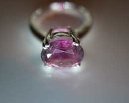 Purple Tourmaline 3.62ct Platinum Finish Solid 925 Sterling Silver Solitair