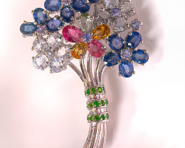So Beautiful Flower BROOCH  Tanzanite Aquamarine Chrome Diopside Sapphire