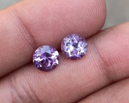 AMETHYST PAIR TOP QUALITY GENUINE GEMSTONES 7mm Round VA496