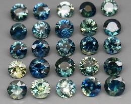 4.11 ct. 3.8-3.9 mm. DIAMOND CUT MULTI COLOR SAPPHIRE NATURAL GEMSTONE 15PC
