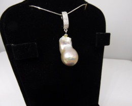 Baroque Pearl Pendant w/ .925 Silver Chain-$1 No Reserve Auction