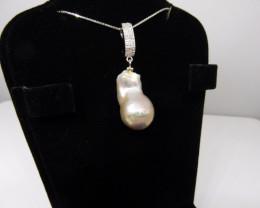 Baroque Pearl Pendant w/ .925 Silver Chain-$1 No Reserve Auction