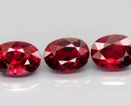 6.98 ct. Natural Earth Mined  Red Rhodolite Garnet Africa - 3 Pcs