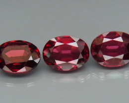 8.11 ct. Natural Purple -Red Rhodolite Garnet Africa - 3 Pcs