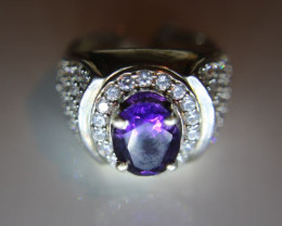 Amethyst 2.67ct Platinum Finish Solid 925 Sterling Silver Ring Size 8