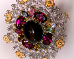 Superb - 'The Garden' Opal Rhodolite Tourmaline ring size 7.5